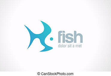 fish, 抽象的, 創造的, ベクトル, デザイン, ロゴ, concept.