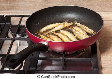fish, 揚げられている, パン