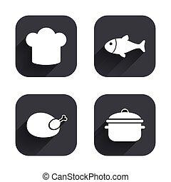 fish, 料理, icons., chicken., 責任者, 帽子, パン