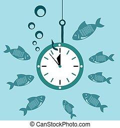 fish., 時計, 下に, 腕時計, 水, ホック, time., お金。, 時間, 無駄
