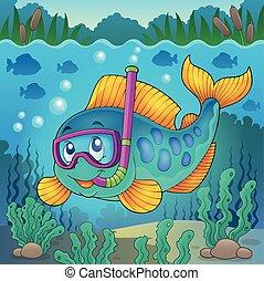 fish, 水下通气管, 潛水者