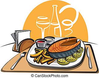 fish, 油で炒めたチップス