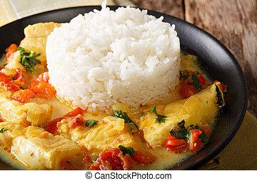 fish, 燉, 在, 椰子奶, 由于, 蔬菜, 以及, 米, close-up., 水平