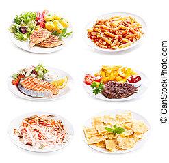 fish, 肉, 各種各樣, 背景, 盤子, 小雞, 白色