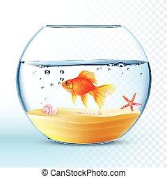 fish, 金, ポスター, ラウンド, ボール