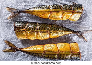 fish, 顶端, 或者, 抽烟, scombe, 鲐鱼, 察看