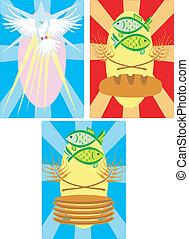 fish, 鳩, bread