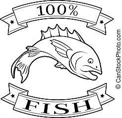 Fish 100 percent label