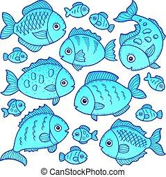 fish, 2, thème, image, dessins