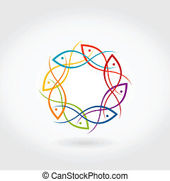Fish a circle - Fishes have gathered in a circle. A vector...