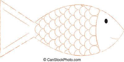 Fish - A stylised orange goldfish vector image.