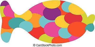 fish., abstrakcyjny, wektor, rysunek, barwny