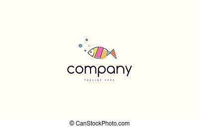 fish., abstrakt, vektor, bild, logo