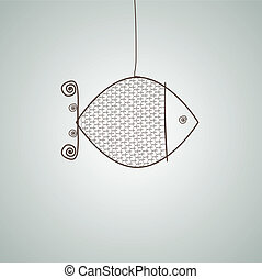fish., abstratos, vetorial, ilustração