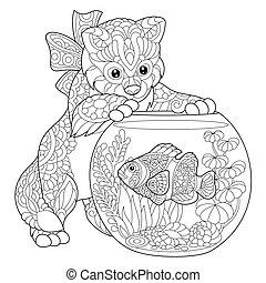 fish, acquario, pagliaccio, gattino