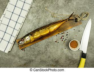 fish, affumicato, appetitoso, board., cucina, spezie