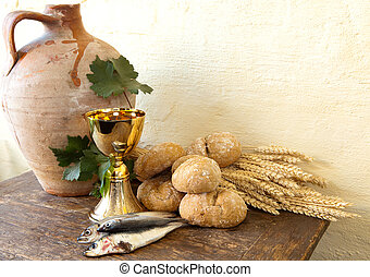 Fish and bread of Jesus - Bread and fish with an antique...