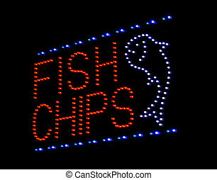 fish and chips LED sign at take away or fast food restaurant