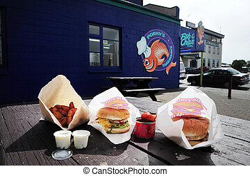 Fish and Chip Shop in New Zealand - HOKITIKA,NZ - APRIL...