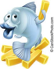 Fish and chips cartoon - Cartoon fish and chips illustration...