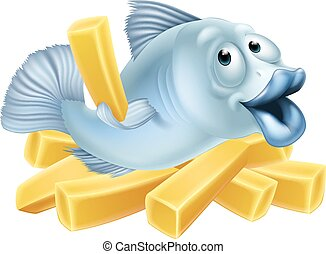 Fish and chips illustration of a happy fish character lying...