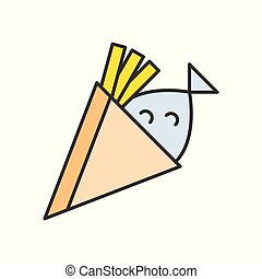 fish and chips, food and gastronomy set, filled outline icon