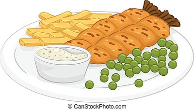 Fish And Chips - Illustration Featuring a Plate of Fish and...