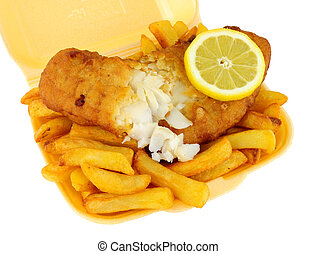 Fish And Chips In A Take Away Tray