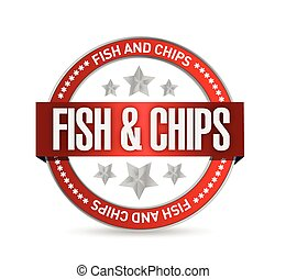fish and chips seal illustration design over a white...
