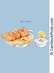 Fish and chips sketch .British cuisine. Street food series. Great for market, restaurant, cafe, food label design.