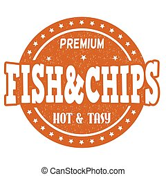Fish and chips stamp - Fish and chips grunge rubber stamp on...