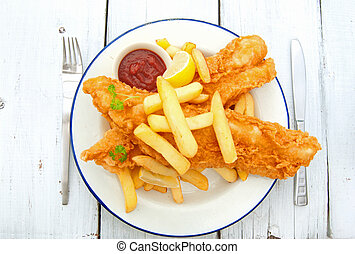 Fish and chips - Traditional english fish and chips takeaway...