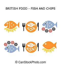 Fish and chips vector color icon set - British traditional ...