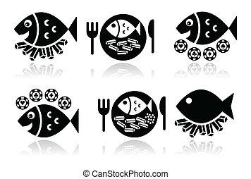 Fish and chips vector icons set - British food - fish and...