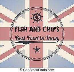 Fish and Chips Vintage Menu Design Stamp