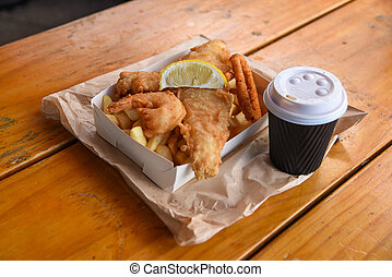 fish and chips with coffee