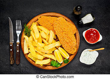 Fish and Chips with Ketchup