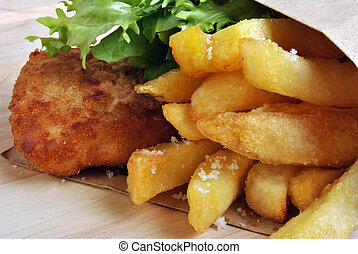 fish and chips with some organic salad