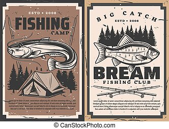 Fish and fisherman rods, vector fishing sport