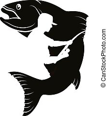 Fish and fisherman with a fishing rod silhouette vector