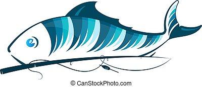 Fish and fishing rod - Blue fish and fishing rod design