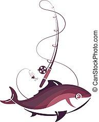 Fish and fishing rod symbol for fishing