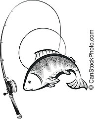 Fish and fishing rod with coil silhouette