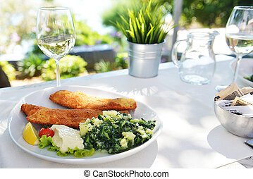 fish and glass with wine