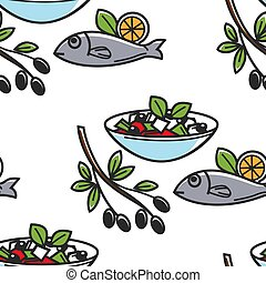Fish and Greek salad olive branch seamless pattern