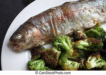 Fish and green veg