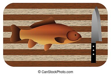 Fish and knife on a chopping board