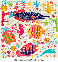 Fish and marine life - Vector wallpaper with fish and marine...