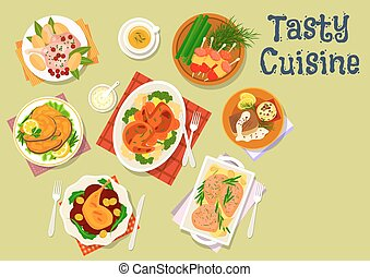 Fish and meat dish with sausage cheese snack icon