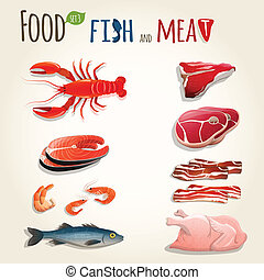 Food fish and meat decorative elements collection of chicken shrimp bacon vector illustration